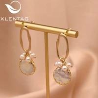 xlentag handmade fresh water white pearl lrregular earrings for women girl korean jewellery boucles d oreille femme 2019 ge0872d