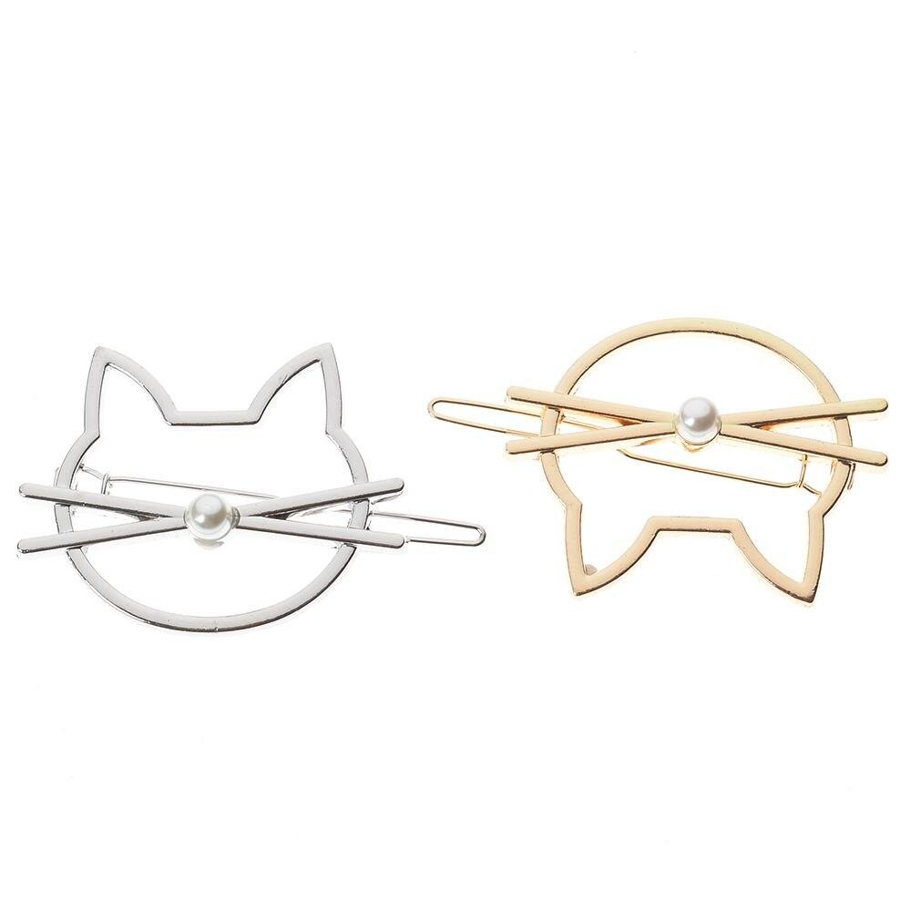 1 pieza de moda hueco de Metal horquilla lindo gato geometría doble anillo pinza de pelo niñas horquilla joyería accesorios para el cabello regalos