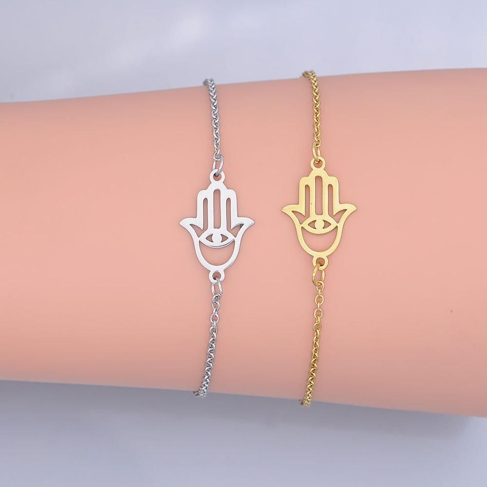Acero inoxidable 100% delicada mano de Hamsa pulsera del encanto para las mujeres al por mayor de calidad increíble joyería de fabricante original orden aceptada