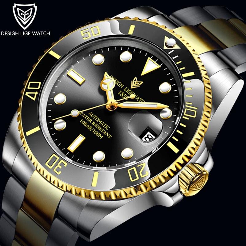 Negócios à Prova Relógios de Vidro Safira para Homens Lige Movimento Mecânico Automático Relógio Moda Dwaterproof Água 316l Aço 2021 Men