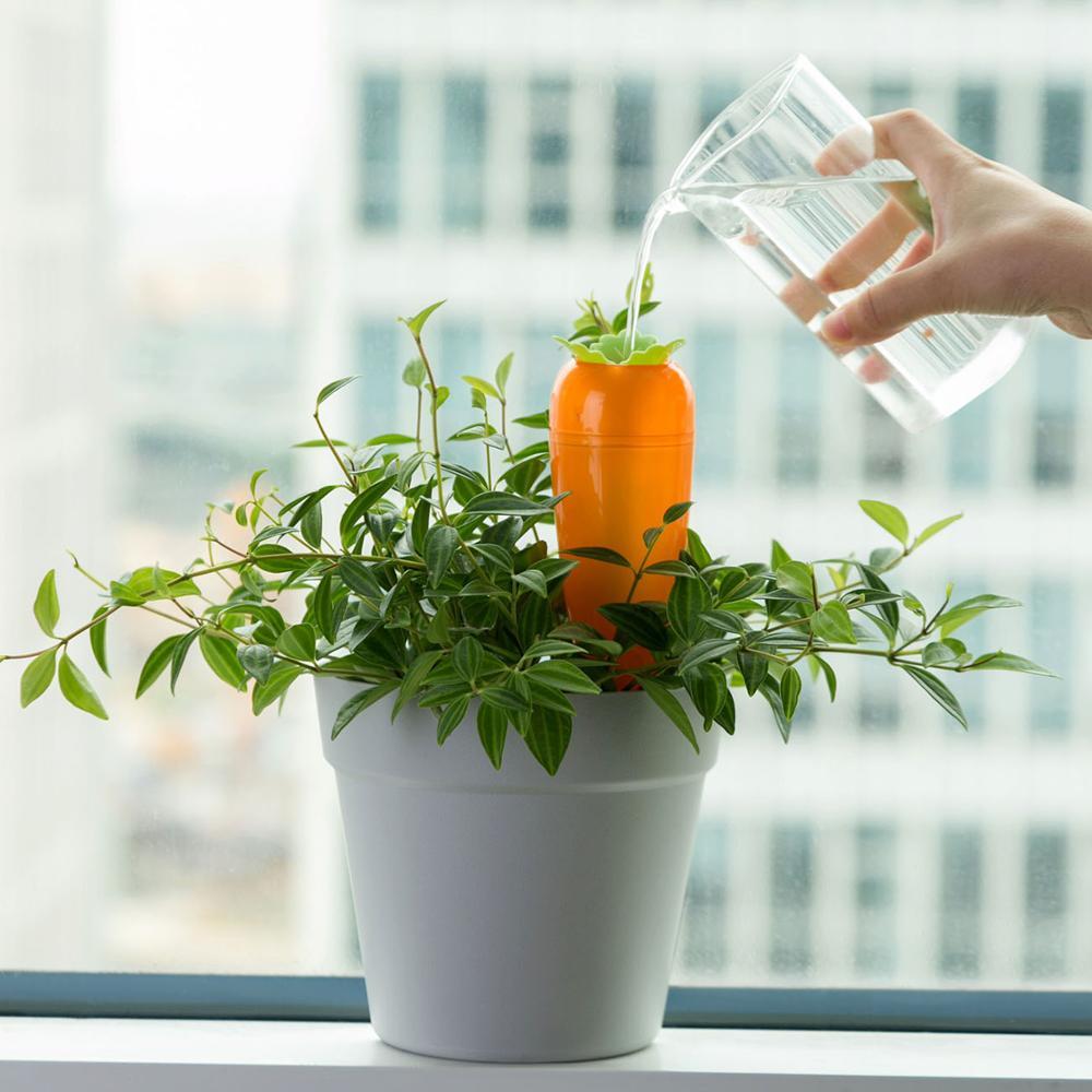 4 Uds Dispositivo de riego automático en forma de zanahoria 7 días suministros de jardinería de riego perezoso Kits de riego de ahorro de energía