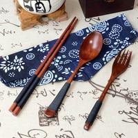 Japanese Vintage Wooden Chopsticks Spoon Fork Tableware 3pcs Set New Gift Zero waste eco friendly kitchen Ware Set drop shipping