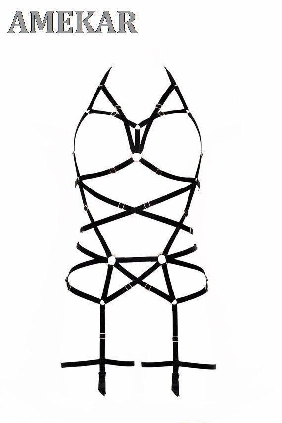 Dragon Line Black Harness - Full Body Black Garter With 4 Buckles