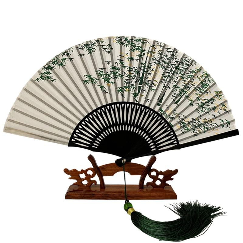 Ventilador de seda clássico, retrô, dobrável, bambu, feminino, casamento, hanfu, cosplay, vazado, portátil