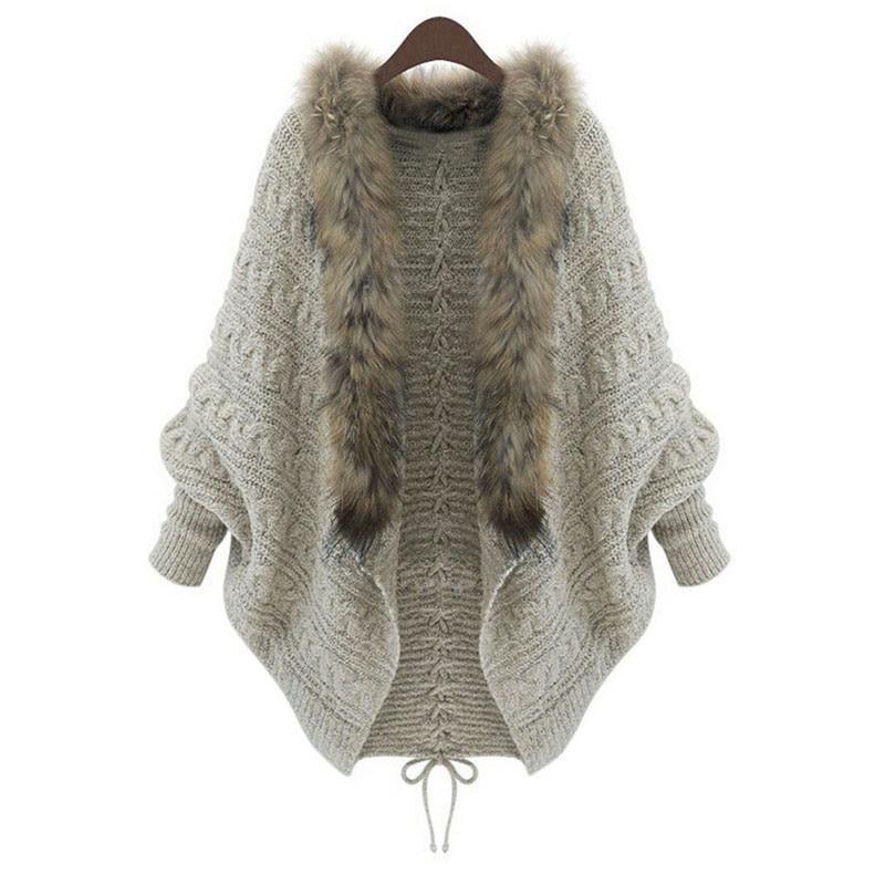 Cárdigan para mujer, suéter, Poncho grueso, capas para mujer, Otoño Invierno, manga de murciélago, cuello de piel, suéter de lana tejido, cárdigan largo para mujer