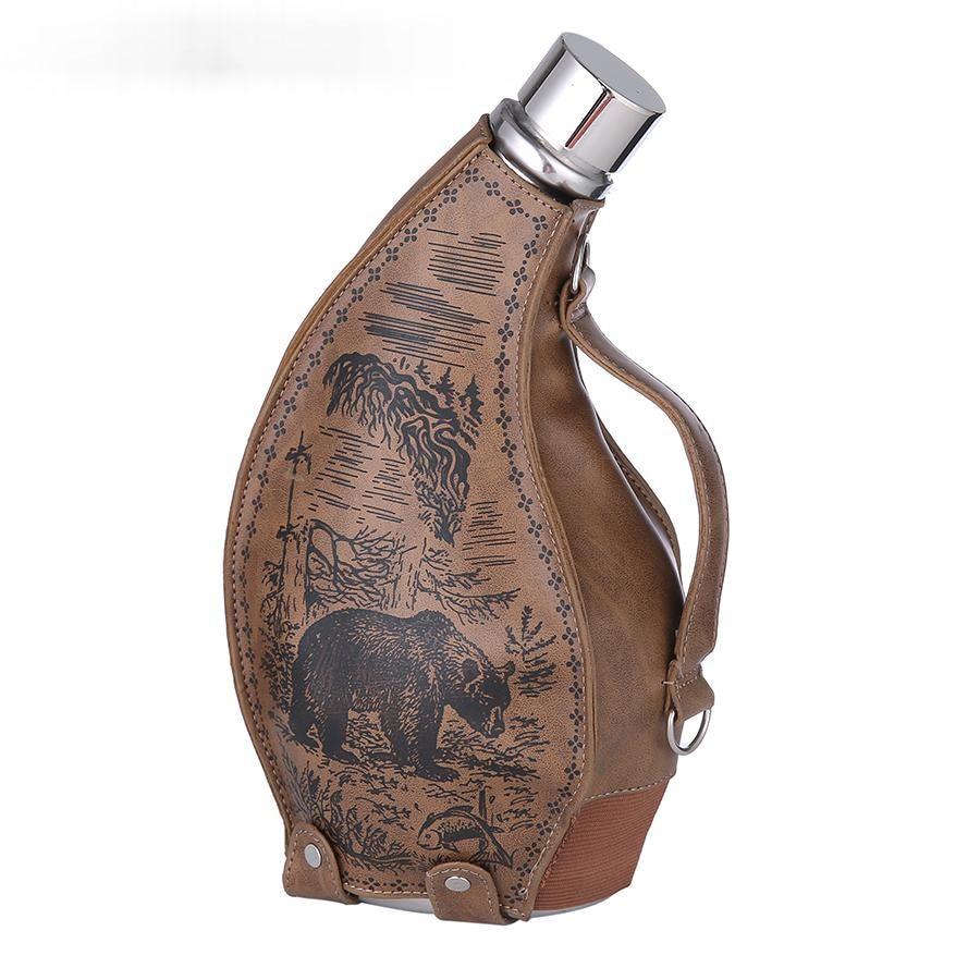 Termo portátil creativo de cuero para actividades al aire libre, frasco Retro...
