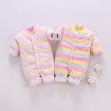 Barboteuse pour bébés filles   Automne-hiver, barboteuse pour bébés filles, barboteuse épaisse et chaude rayée, combinaison tenues pour bébés, tenue fourre-tout