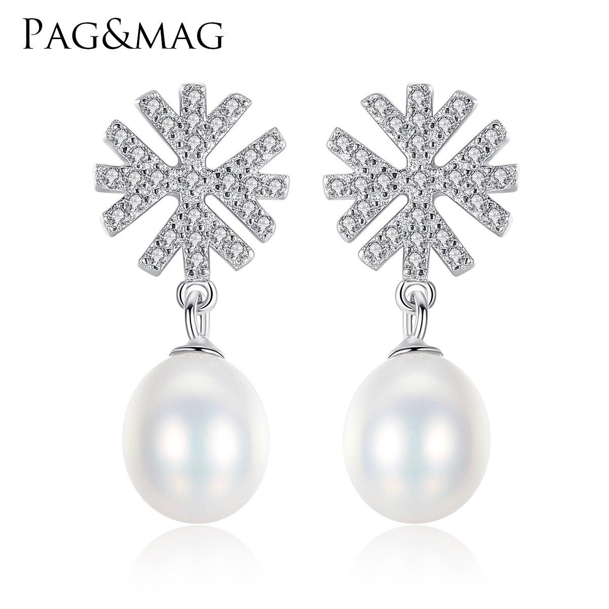 PAG&MAG romántica copo de nieve S925 oreja de plata pura con 3A zirconia perla de agua dulce oreja Decoración