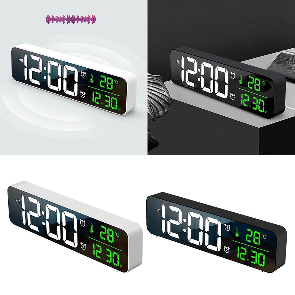 Reloj despertador con temperatura y fecha, reloj de pared con calendario, 5...