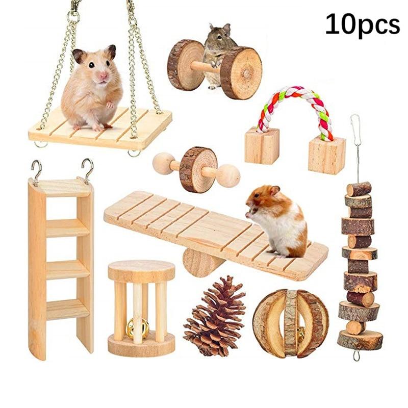 Игрушки для жевания хомяка, 10 упаковок, натуральные деревянные сосновые морские свинки, крысы, шиншиллы, игрушки, аксессуары, гантели, Колок...