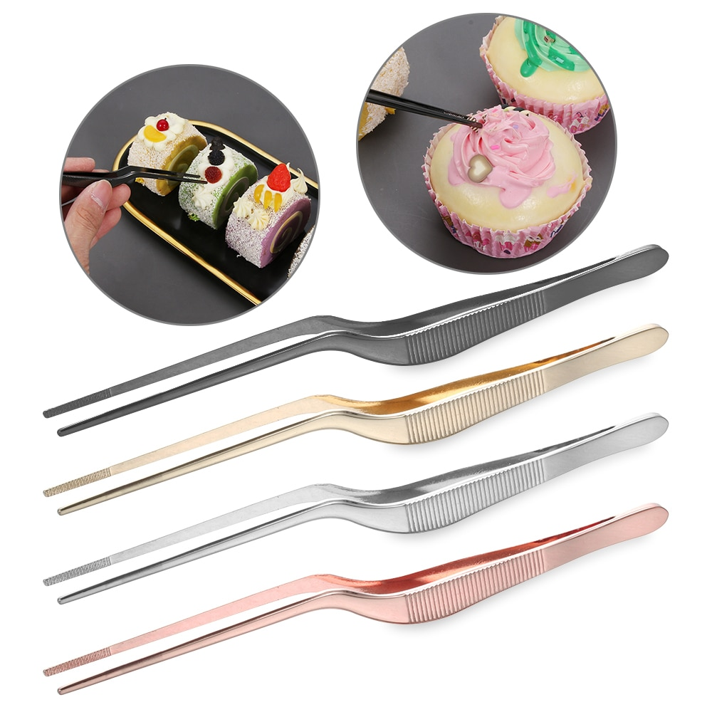 1PC Plating Tweezer BBQ Clip Barbecue Tongs Serving Presentation Stainless Steel Seafood Tool Kitchen Chef Supplies