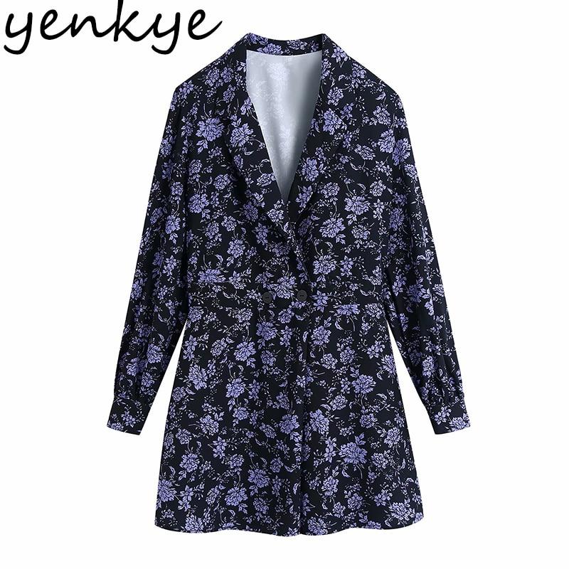 YENKYE-بذلة كلاسيكية بطبعة زهور ، بدلة نسائية ، ياقة متقاطعة ، أكمام طويلة ، أنيقة ، قصيرة ، بدلة رومبير