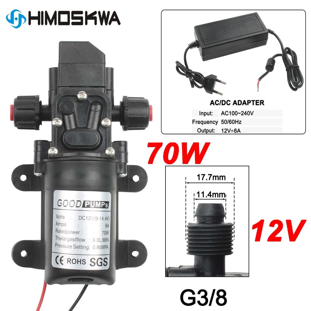 Pompe auto-amorçante de diaphragme à haute pression de pompe à eau de 70W DC 12V 130PSI 6L/Min avec la prise pour le nettoyage de voiture