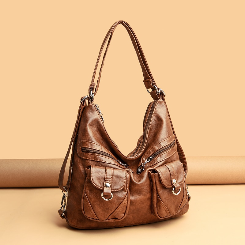 fashion leather shoulder bags for women 2021 designer handbag large capacity casual tote bags luxury lady crossbody bag totes Fashion Designer Women Bag Vintage Leather Shoulder Bags for Women Large Capacity Female Handbag Crossbody Bags Lady Tote Purse