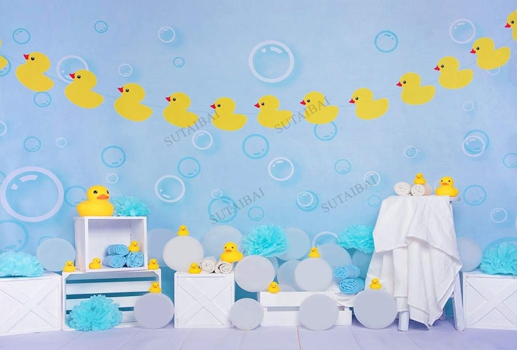 Yellow Rubber Duck Backdrop for Photography Newborn Baby Shower Bubble Blue Decoration Banner Backgrounds Photo Studio Props enlarge