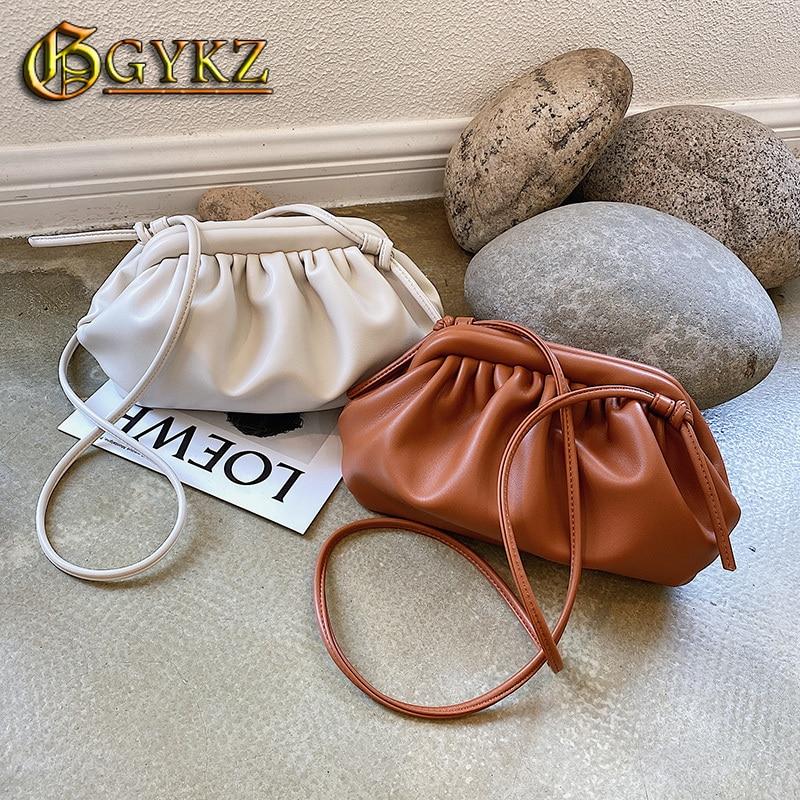 Hobos Simple Bag for Women Shoulder-Bag Luxury Brand Designer Small Crossbodybags Dumpling Cloud Clutch Purse Black Brown White