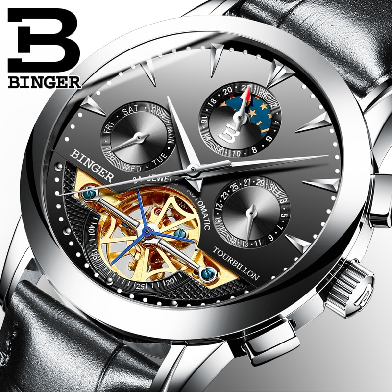 BINGER Skull Tourbillon Mechanical Watch Men's Fashion Automatic Classic Waterproof Leather Mechanical Watch Reloj Hombre 2019