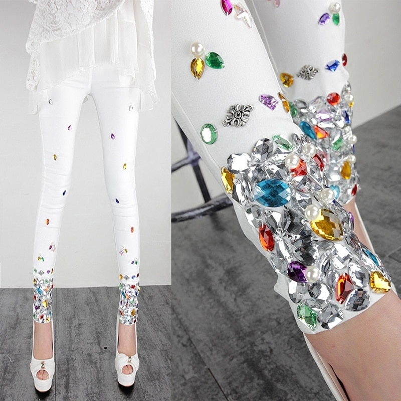 2020 Spring and Autumn Thin Cool Women's Pants Seam Colorful Crystals Slim All-match White Pencil Pants Wear Leggings Pants