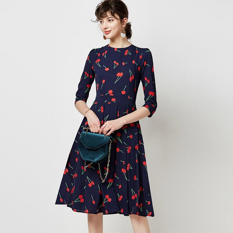 Vintage Elegant Ladies Print O-neck A-line Dress Fashion Autumn Quarter Sleeve Tunic Midi Party Dresses Pleated Dress Vestidos