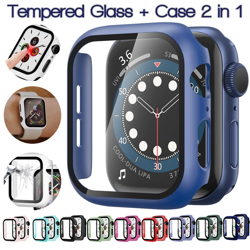 for apple watch tempered glass 44 38 42 40 mm full coverage curved edge frame bumper for i watch series 4 3 2 1 screen protector Case for Apple Watch 6/SE/5 3/2/1 Cover Tempered Glass Film Screen Protector Bumper Frame  for Iwatch Series 6 5 4 38 40 42 44mm