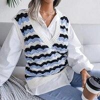 monerffi v neck knitted sweater vest women sleeveless jumper oversized pullover striped vintage waistcoat autumn sweaters female