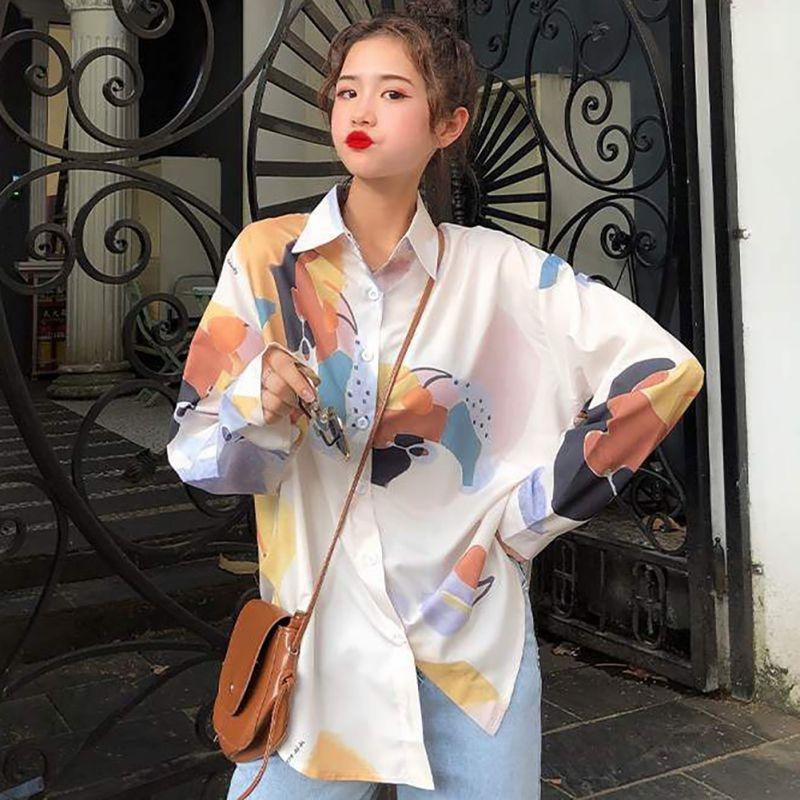 Nueva blusa de cuello vuelto Retro Coreana de otoño para mujer Blusa de manga larga suelta Casual blusa de moda