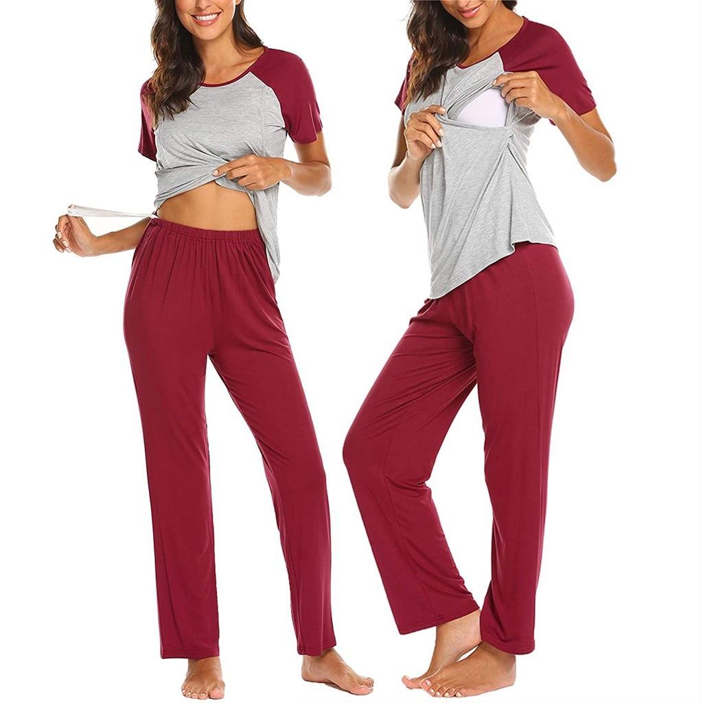 New Maternity Pregnant Women Pajamas Set Long Sleeve Nursing Baby Breastfeeding T-shirt Tops+Adjustable Pants Pajamas Nightwear