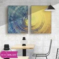 Affiches de peinture en toile pour decoration de noel  cercle bleu et jaune  Art mural pour salon  decoration de maison