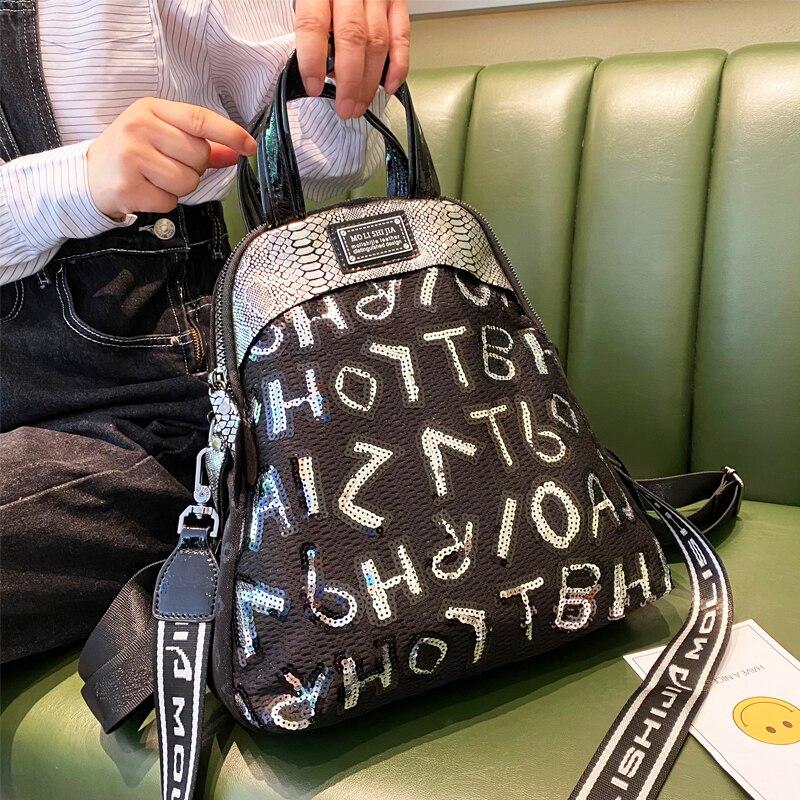 Mochilas Para Mujer Travel Shoulder Bags for Women's Backpack 2021 New Sequines Letter Print Ita Shell Bolsa Feminina