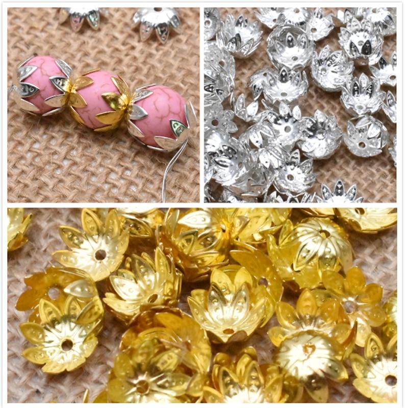Flor de Oro aleación de Metal espaciador suelto tapas de perlas hallazgos de joyería cuentas de cono para fabricación de joyas encontrar 8/10mm 100 unids/lote