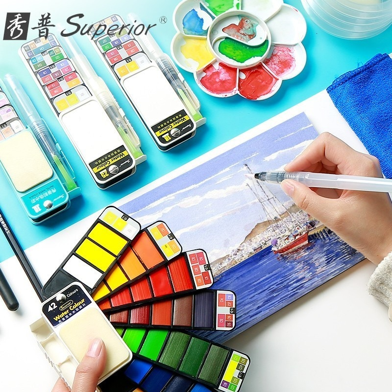 18/25/33/42Colors Solid Water Color Paint Set With Water Paint Brush Portable Watercolor Pigment Pain't For Artist Art Supplies enlarge
