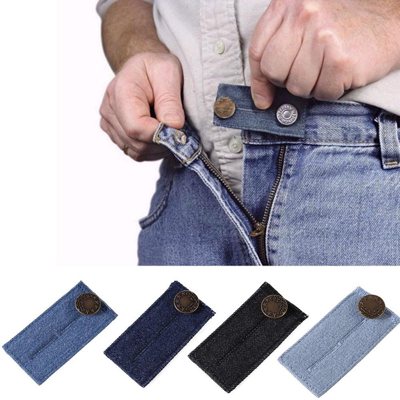 4Pcs Extenders Elastic Extended Buttons Adjustable Multi Use Pants DIY Denim Fastener Jeans Waist Clothes Buckle Extension Snap