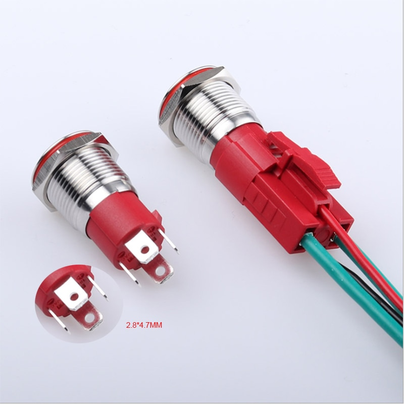 1PCS IP67 16mm enganche o momentáneo anillo led impermeable metal botón interruptor grande ampere 10A onoff interruptor de símbolo de alimentación