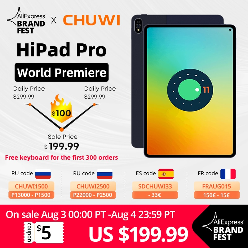 [World Premiere] CHUWI HiPad Pro, Snapdragon 662, Octa Core, 10.8 inch FHD Screen, Android 11, 8GB RAM, 128GB ROM, 4G LTE Tablet