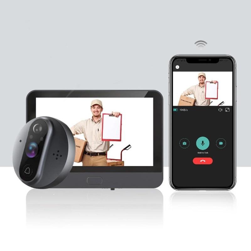 WiFi 720P Video Doorbell Peephole Viewer Home Security HD Night Vision PIR Motion Detection Peephols
