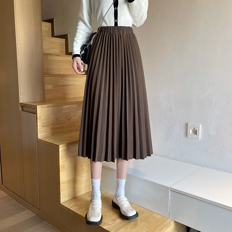 Women Skirt 2021 Autumn New Fashion Chic French High Waist Slim And Versatile Pleated A-word Medium
