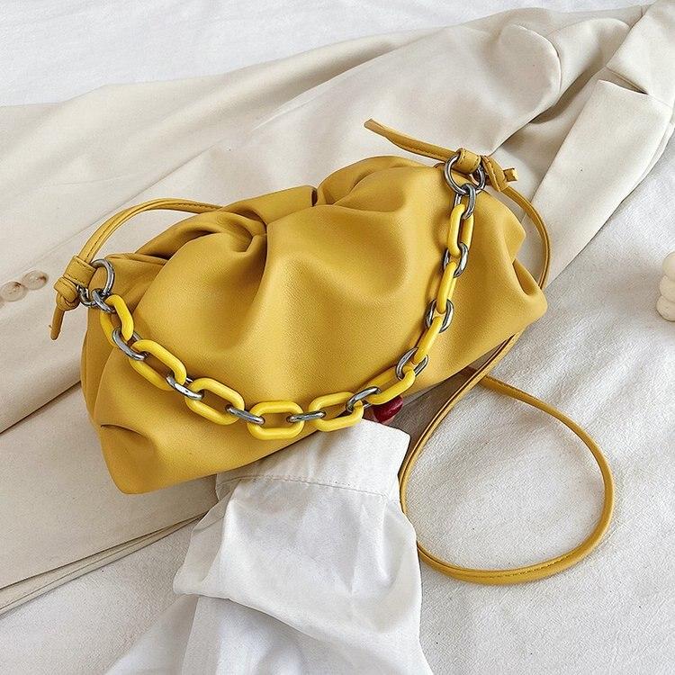 Gold Chain PU Leather purple Cloud Bag For Women 2021 Summer Armpit bag Lady Shoulder Handbags Female Travel Hand Bag