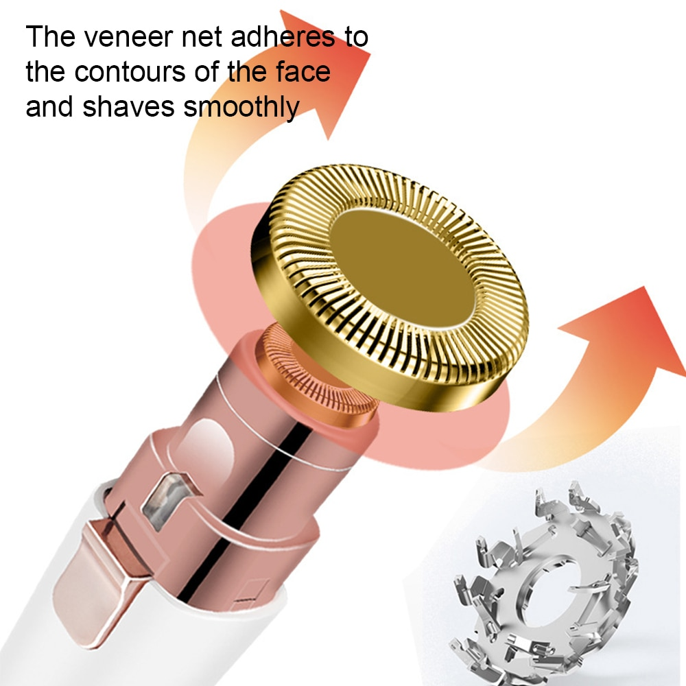 2 IN 1 Electric Eyebrow Trimmer Painless Eyebrow Epilator Women Portable USB Rechargeable Facial Shaving & Hair Removal Machine enlarge