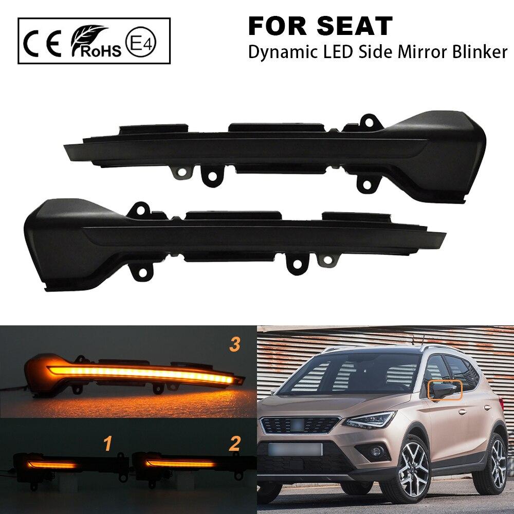 Pair LED dynamic side mirror blinker Light Turn Signal Lamp For Seat Leon III 5F 2013- Ibiza KJ 2018- Arona 2017- Amber