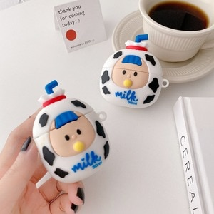 Cute 3D Cartoon milk girl For AirPods 1 2 Pro Charging Soft silicon Cover Wireless Bluetooth protective Earphone Case with Hook
