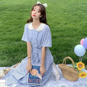 KoreanContrasting Color  Lace Doll Collar Waist Hugging Bow Tie-up Double-breasted Plaid Dress Female Summer sweet Lolita dress