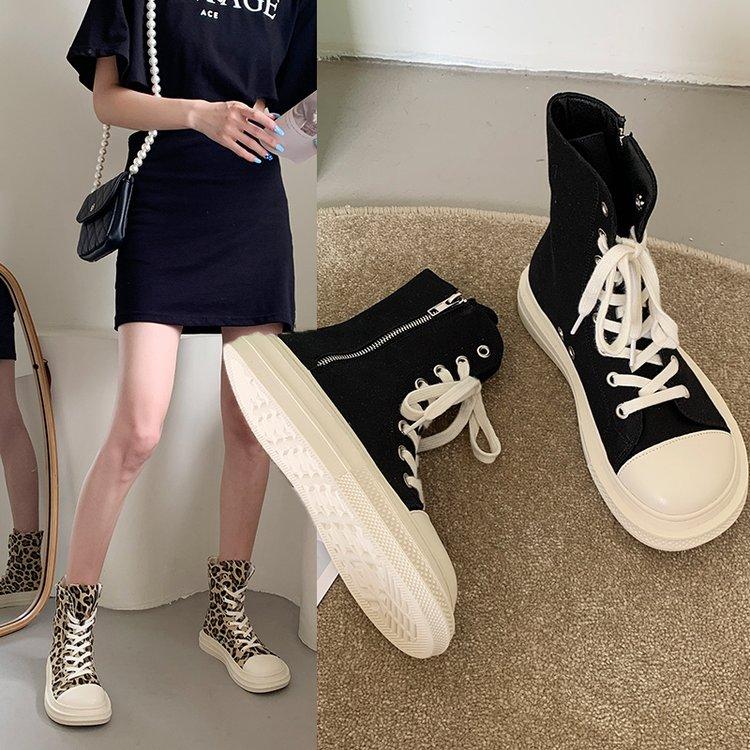 2021 new  Canvas Shoes Women Fashion High Top Sneakers Spring Female Footwear Pumps Platform Vulcani