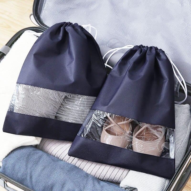 Dolap sac fourre-tout Non tissé à cordon   Sac imperméable pour chaussures de voyage 1 pièce, sac de rangement Portable pour chaussures