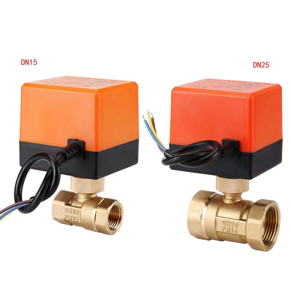 التيار المتناوب 220 فولت DN15 DN25 الكرة الكهربائية صمام النحاس بمحركات 2 طريقة 3-سلك المياه النفط صمام غاز 1.6Mpa الموضوع 90 درجة دوران