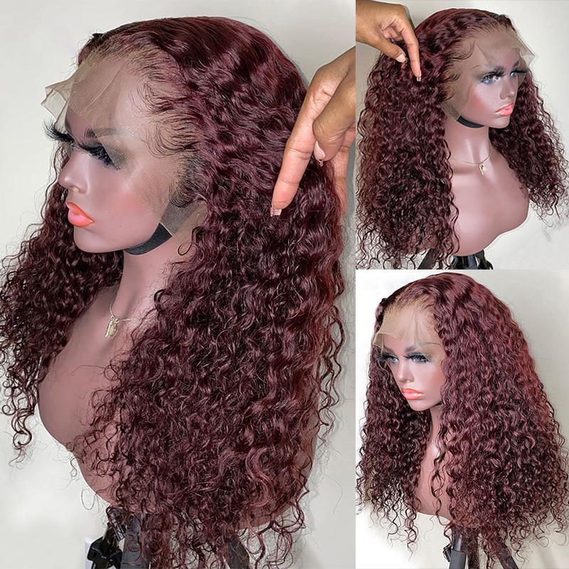 Wine Red Colored 99J Long Culry Wigs Transparent T Part Lace Front Wig Human Hair For Women With Baby Hair Brazilian Hair