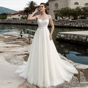 Cheap Tulle Wedding Dress Bridal Gown Cap Sleeve O Neck Lace Applique A Line Wedding Dresses White Ivory Robe De Mariage