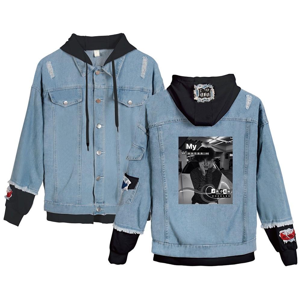 Hot Gefälschte Zwei Stück Denim Jacken Frauen Langarm Taschen Mantel Sozialen Stern Jxdn Streetwear Kleidung Jaden Hossler Kleidung Weibliche