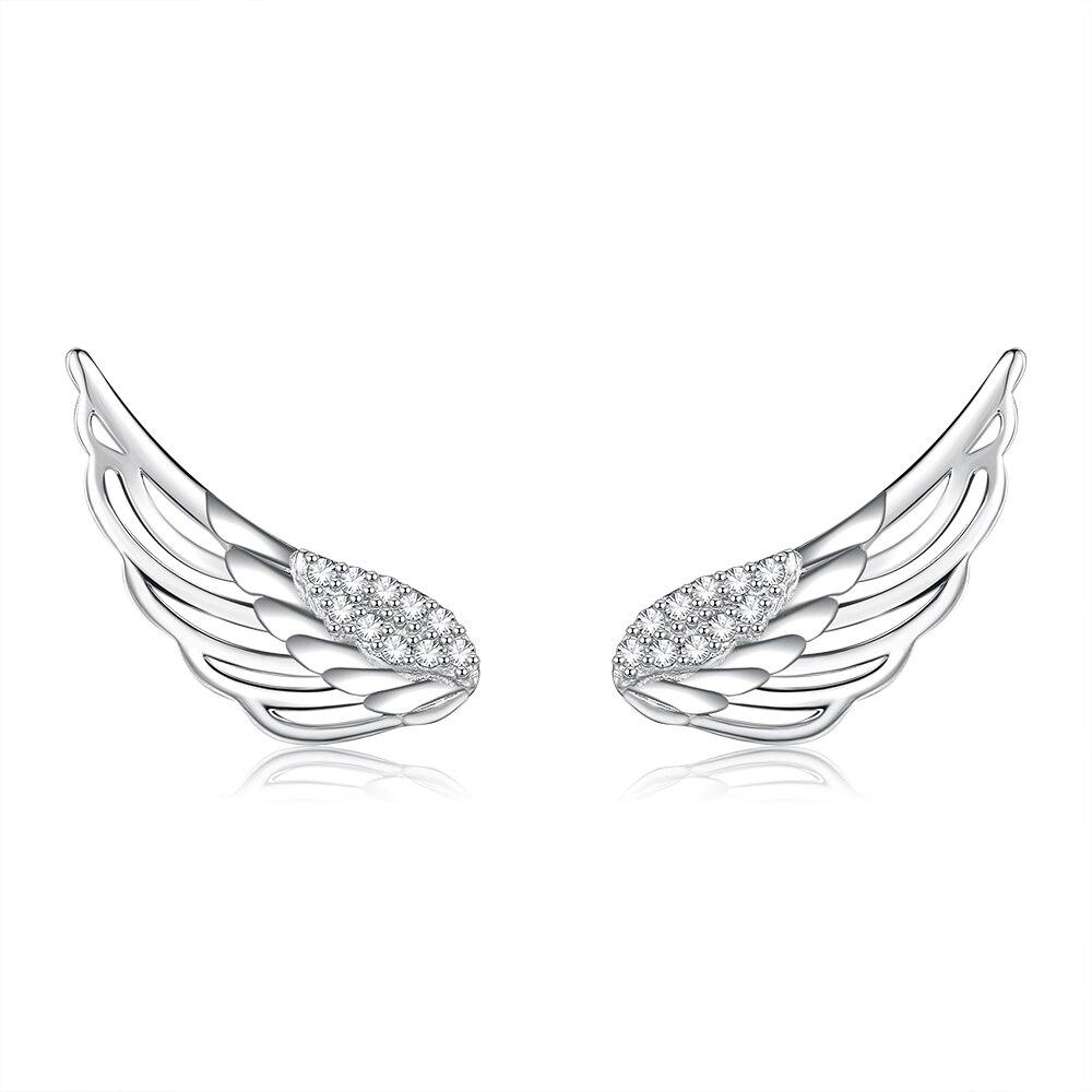 SILVERHOO Genuine 925 Sterling Silver Feather Fairy Wings Stud Earrings for Women Fine Jewelry Christmas Hot Sale