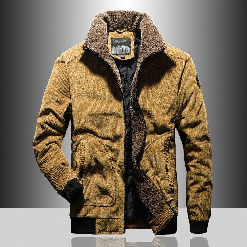 Men's Clothing Plus Velvet Warm Corduroy Cotton Jacket Fashion Men's Casual Fashion Cotton Clothing Men's Brand Warm Jacket