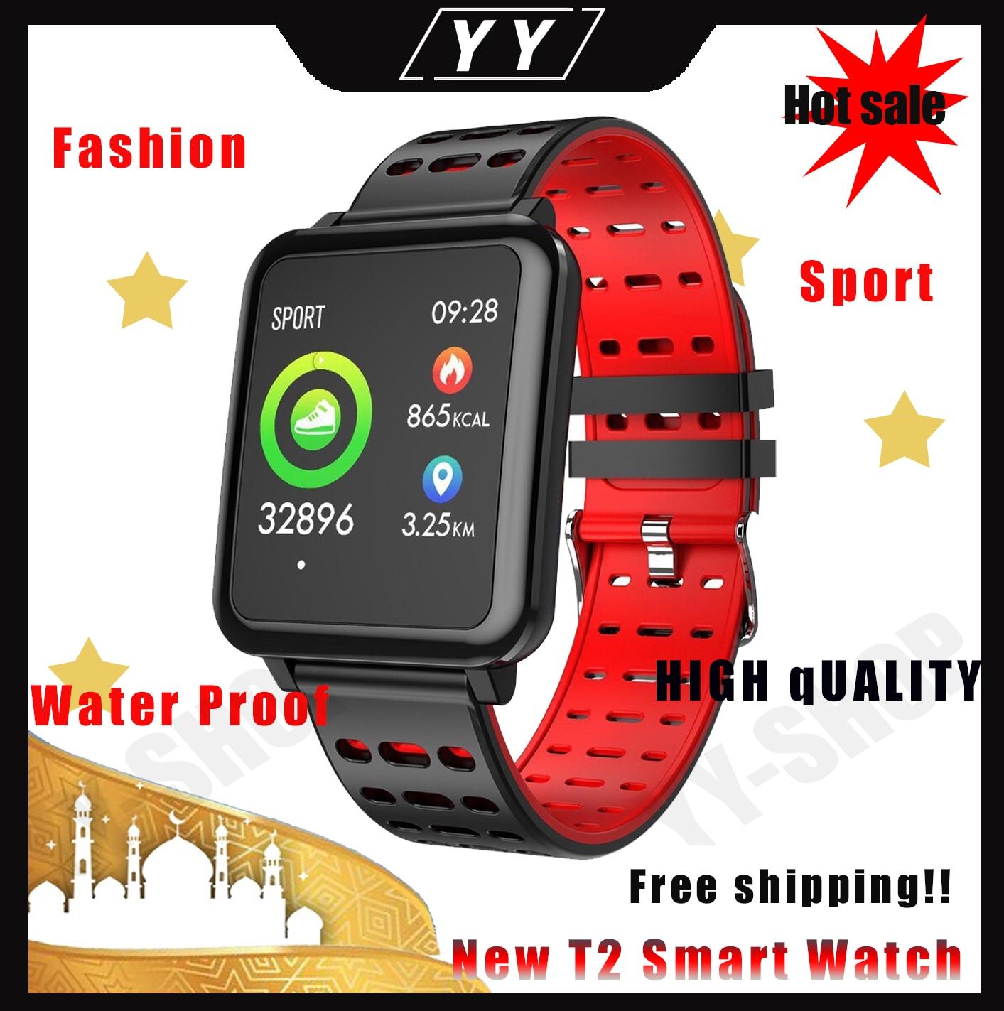 ¡Caliente! Reloj inteligente T2, podómetro, reloj inteligente, banda de frecuencia cardíaca, pantalla de presión arterial, pulsera impermeable para android ios, reloj apple